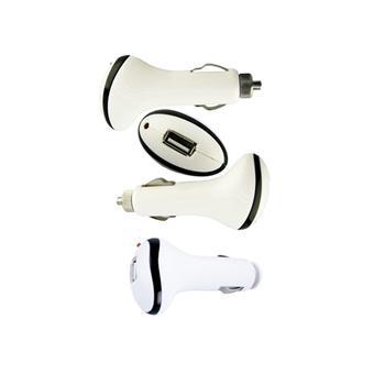 Adaptateur prise allume cigare via usb blanc achat for Adaptateur allume cigare 220v fnac