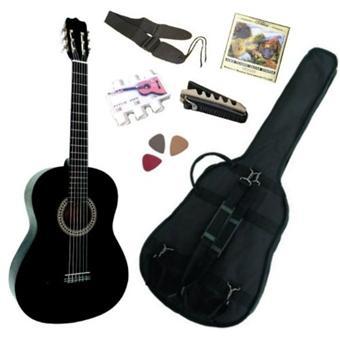 pack guitare classique 3 4 8 13ans pour enfant avec 6 accessoires noire top prix fnac. Black Bedroom Furniture Sets. Home Design Ideas