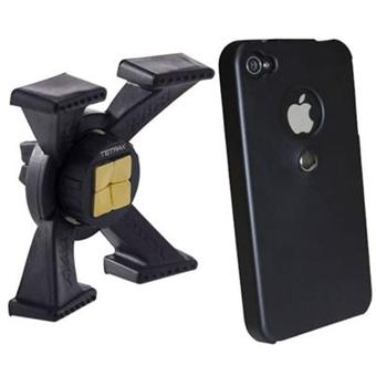 tetrax pack support voiture coque noire glossy pour iphone 4 4s achat prix fnac. Black Bedroom Furniture Sets. Home Design Ideas