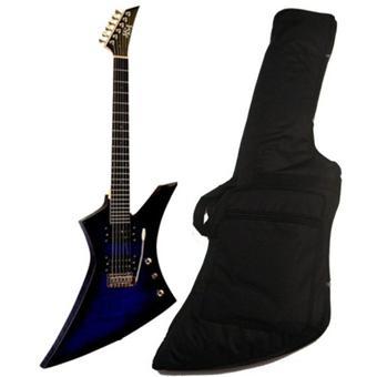 Guitare electrique type explorer bleue avec vibrato for Housse guitare electrique
