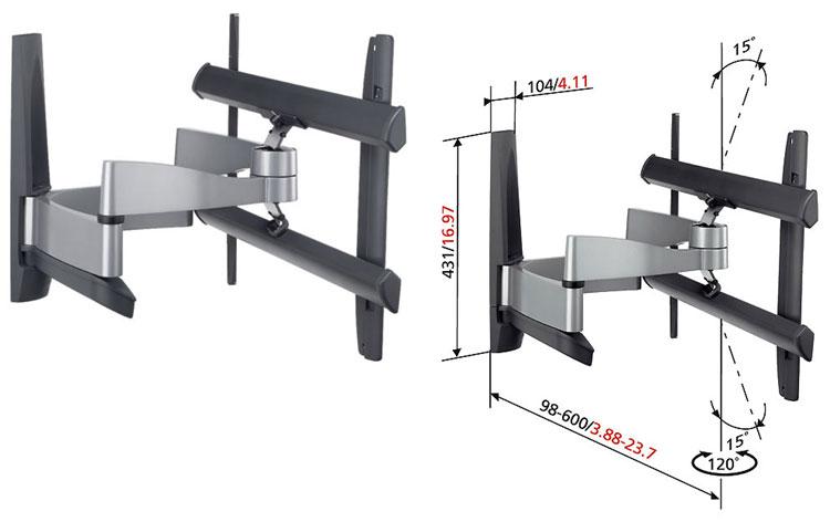 Vogels Support mural reglable pour ecrans plats de 31 a 42 45kg maximum avec systeme de protection ecran et mur efw6345