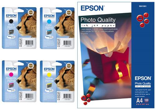Lot de 4 cartouches Epson Série T071 (Noire, Cyan, Magenta, Jaune) + Epson Papier Photo A4