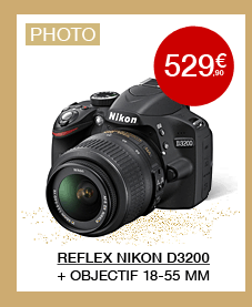 Appareil photo Reflex Nikon D3200 Noir + Objectif