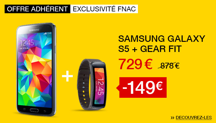 -149€ : Samung Galaxy S5 + Podomètre Gear fit